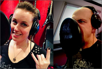 Nox Aeterna - Debbie and Erik recording backing vocals
